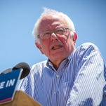 """Presidential candidate Bernie Sanders spoke in May in  in Vado, N.M. Sanders' book """"Our Revolution: A Future to Believe In"""" is scheduled to come out Nov. 15, a week after Election Day."""