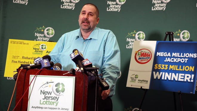 The winner of the $533 million Mega Millions lottery, Richard Wahl, 47, of Vernon Township, N.J., speaks to gathered press April 13, 2018, at New Jersey Lottery headquarters in Trenton.