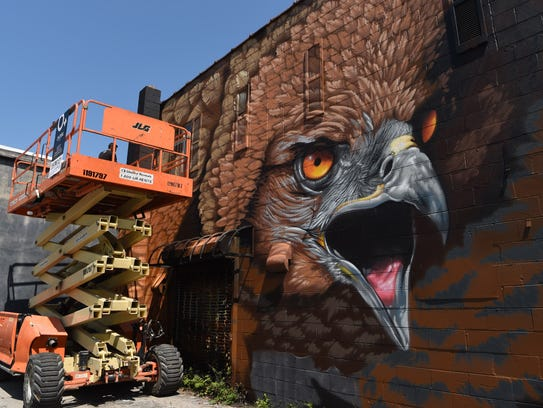 A view of Justin Suarez's mural on Main Street in the