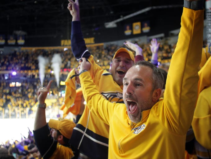 Fans react to the game winning goal by Nashville Predators