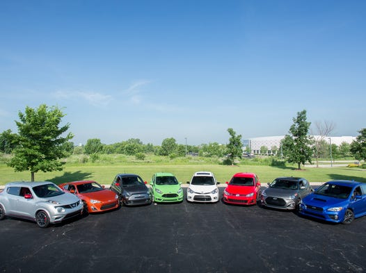 <p>The $30,000 Cheap Speed Challengers, left to right: Nissan Juke Nismo; Scion FR-S; Fiat 500 Abarth; Ford Fiesta ST; Kia Forte5; Volkswagen GTI; Hyundai Veloster; and Subaru WRX.<br /> <br /> </p>