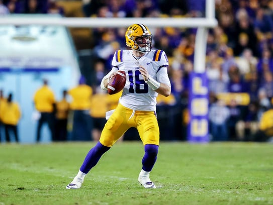 SU Tigers quarterback Danny Etling (16) looks on against Texas A&M Aggies at Tiger Stadium.