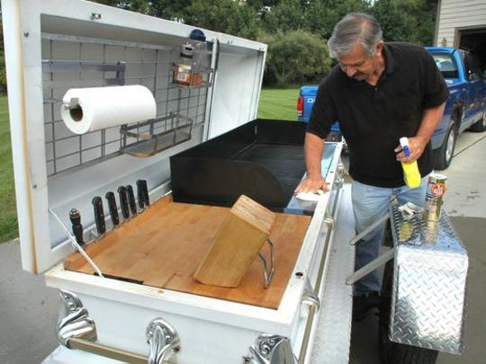 "Just Hearse 'N Around co-founder Frank Hendeen plans to tow his ""Casketeria,"" a casket converted into a grill, to the 13th annual Hellfest Saturday in Hell."