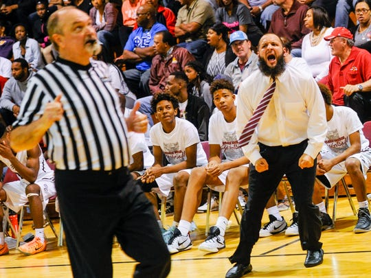 Head Coach Chad Pourciau letting the ref know he doesnt agree with the call as Breaux Bridge host Fair Park for boys second-round playoff game. March 2, 2016