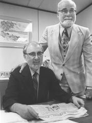 Abilene Reporter-News Managing Editor Richard Seaman, left, and Editor Dick Tarpley grew beards, along with many other Abilenians, for the city's centennial in 1981.