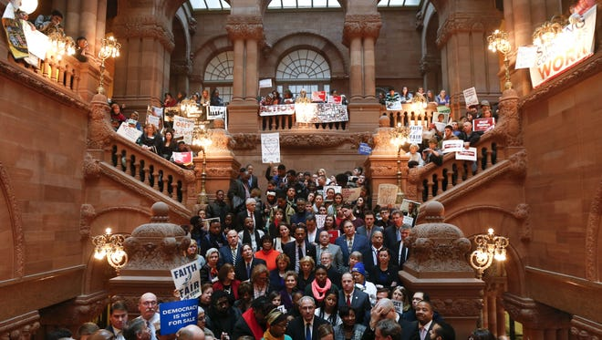 A rally for state education aid in late 2016 at the Capitol in Albany.