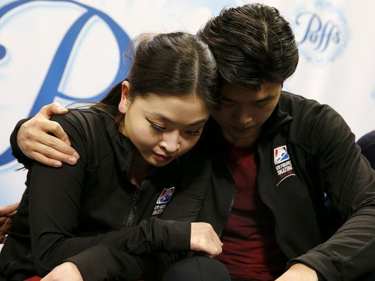 Maia and Alex Shibutani react to their scores in the pairs free skate event at the U.S. Figure Skating Championships in San Jose, Calif. on  Jan. 7, 2018.