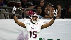 Troy wide receiver Damion Willis (15) celebrates after