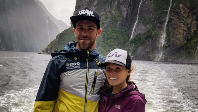 Lori and Jesse Livingston on a ferry after finishing the New Zealand Enduro: a five-day, 75-mile race.