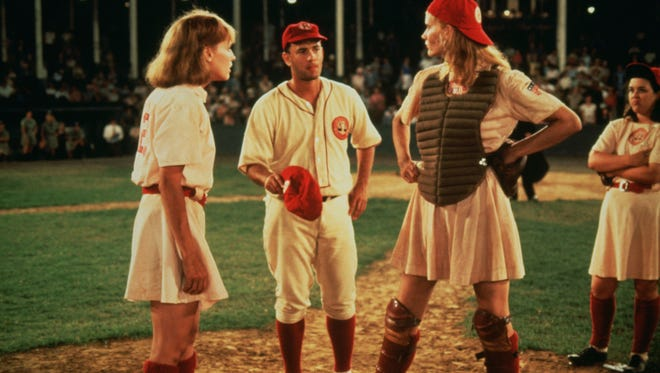 """Lori Petty, Tom Hanks and Geena Davis in """"A League of Their Own."""""""