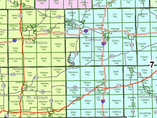 This map of Michigan's Sixth and Seventh Congressional