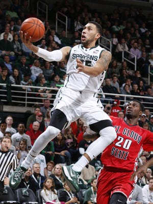 Michigan State's Denzel Valentine puts up a layup against St. Cloud State Friday. The junior from Lansing Sexton High School is the clear leader of this MSU basketball team.