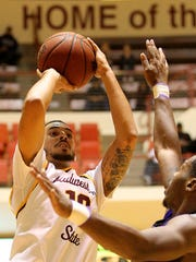 Richard Cleaver / Special for the Times Record NewsMSU's Trey Kennedy see two as he shoots Thursday night against Tarleton at D.L. Ligon Coliseum as the Mustangs took on the Tarleton Texans in Lone Star Conference action