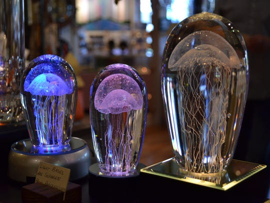 A variety of glass pieces are sold at Ferguson Gallery.