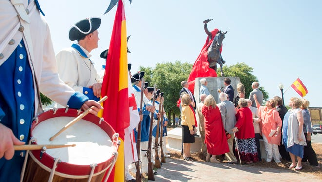 The new Galvez statue is unveiled during the dedication ceremony in downtown Pensacola on Tuesday, May 8, 2018.