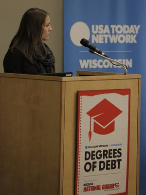 USA TODAY NETWORK-Wisconsin reporter Noell Dickmann moderated the discussion during the Degrees of Debt campus rally Tuesday, October 18, 2016, at the Alumni and Welcome Conference Center on the UW-Oshkosh campus. Degrees of Debt is a USA TODAY NETWORK-Wisconsin series examining college affordability. Joe Sienkiewicz / USA TODAY NETWORK-Wisconsin