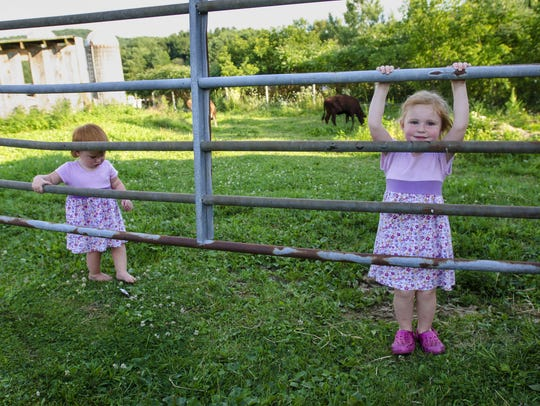 Addie Farr, 1, left, and Annie Farr, 3, play near the