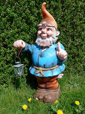 Garden gnome with lantern in front of a boxwood hedge