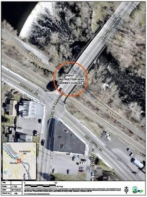 This image shows an aerial view of the section bike path that is being closed for repair work on the Manville Bridge.