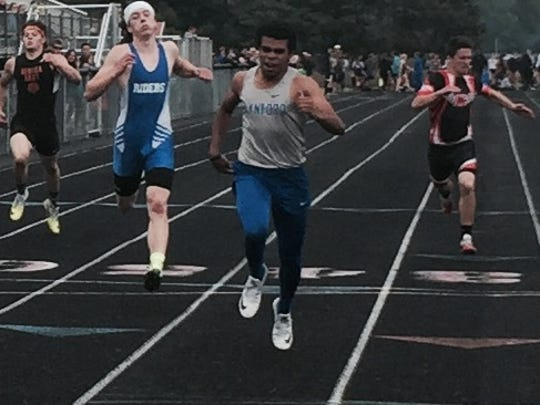 Wynford's Alizhah Watson swept the 100 and 200 dashes in Saturday's Division III district track meet.