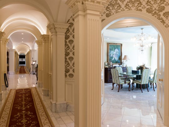 View from the west hallway to the family dining room