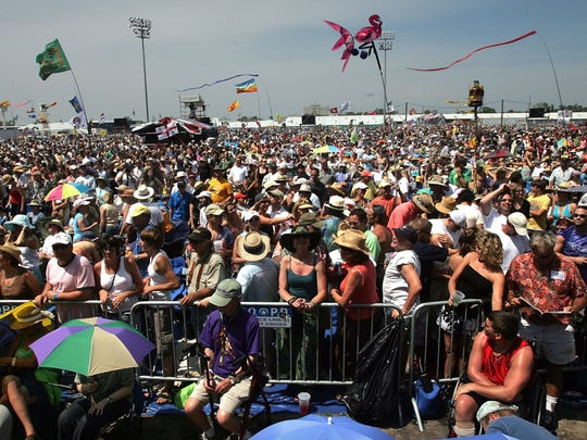 NEW ORLEANS - APRIL 28:  Thousands of festival goers are seen on the first day of the New Orleans Jazz & Heritage Festival April 28, 2006 in New Orleans, Louisiana. This is the first time the event has been held since Hurricane Katrina.  (Photo by Mario Tama/Getty Images)