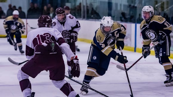 Mike McCusker (3) of Indian Hills moves the puck up the ice against Don Bosco in the Bergen County hockey tournament file on  Wednesday, Jan. 17, 2018.