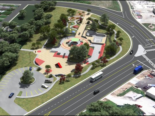 A rendering of a proposed skatepark in the Cincinnati