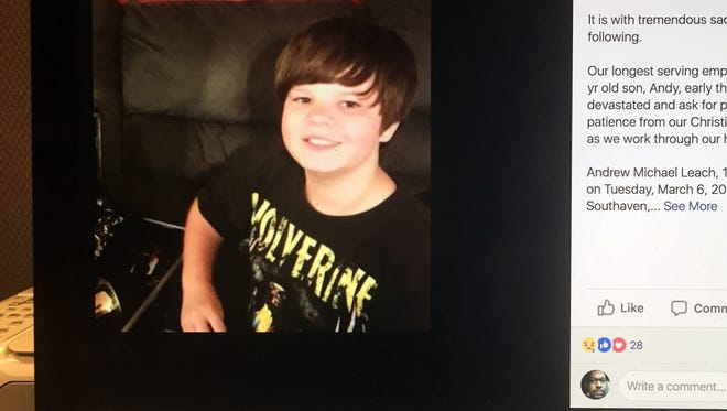 Andrew Leach, a sixth-grade student in Southaven, committed suicide this month after being bullied.