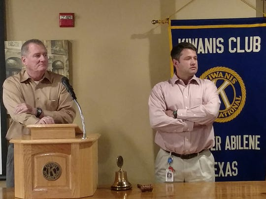 Michael Haithcock and Cliff Hallford, of the TxDOT Abilene District, give a presentation to the Kiwanis Club of Greater Abilene.