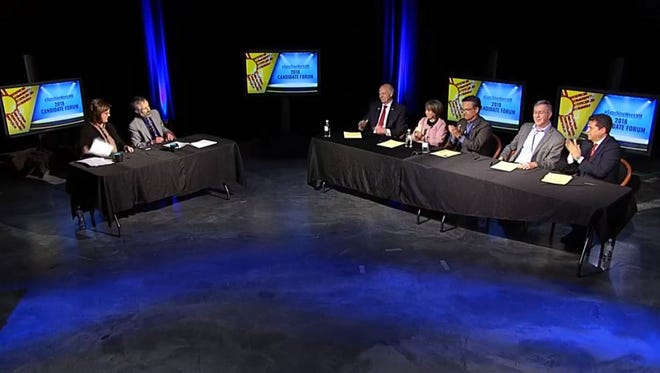 This screenshot shows the five candidates for New Mexico governor, sitting to the right, participating Sunday, March 11, in a New Mexico Foundation for Open Government forum, which was broadcast on Facebook.