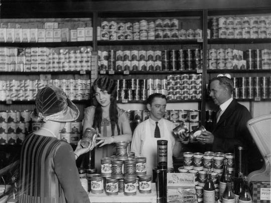 Pictured is Lakeside Foods product being sold at a local store in the 1930s.