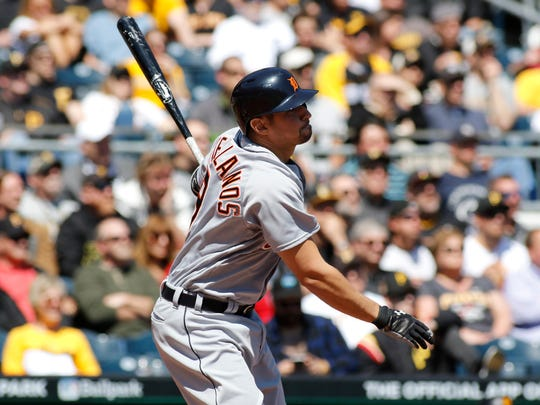 Nick Castellanos clubs a two-run double in the fourth inning.