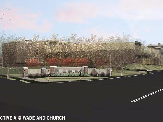 A view from Wade Hampton Boulevard of what the NorthPointe gateway would look like with trees masking the back side of a Harris Teeter grocery store.