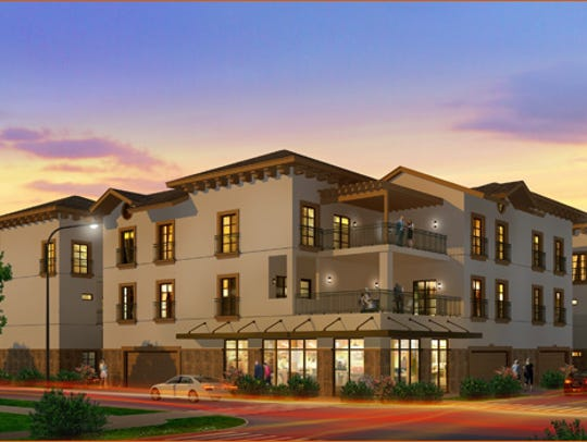Rendering of 12-unit townhouse project at Kansas and