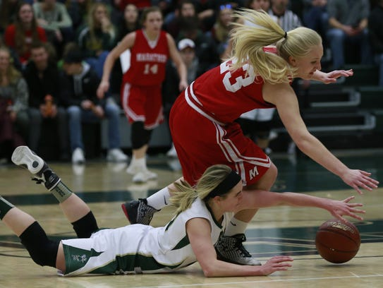 Colby's Hailey Voelker (below) filled the stat sheet