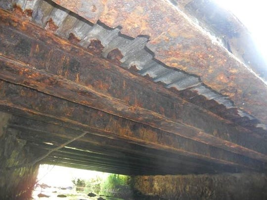 A close-up of the deterioration under the Main Street Bridge in Mendham Township, which was reopened Monday afternoon after contractors spent two weeks replacing the original span, erected in 1925 and renovated in 1977.