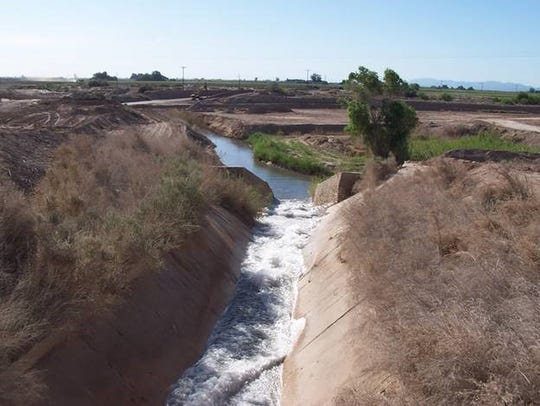 "Colorado River water flows through the West Side Main Dixie spill toward the New River and the Salton Sea. This ""mitigation water"" is being cut off in the final days of December 2017 under a water transfer deal."