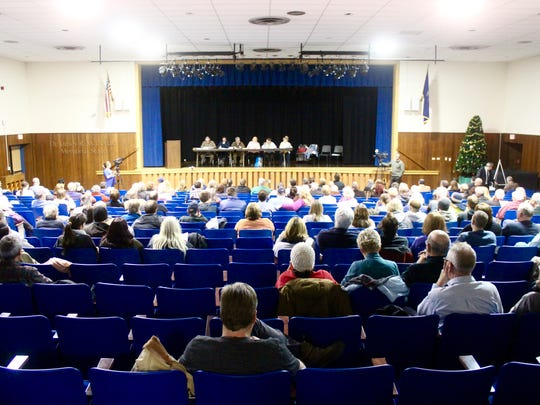 Residents of Romulus filled the Romulus Central School Auditorium in January 2018 for the Town Planning Board meeting, where a trash incinerator project proposal was discussed.