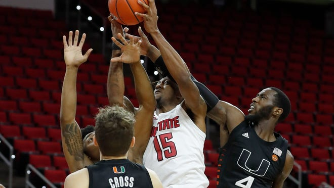 """Fayetteville native Manny Bates, who sprained his ankle on Jan. 9 against Miami, is questionable to return Saturday in NC State's game at UNC. Keatts said the redshirt sophomore has struggled with """"keeping the swelling down."""""""