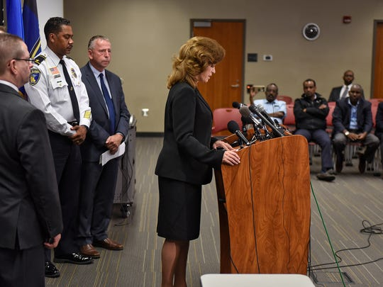 Stearns County Attorney Janelle Kendall talks about the investigation of the Crossroads Center stabbing incident during a press conference Wednesday, Oct. 6, at the St. Cloud Police station.