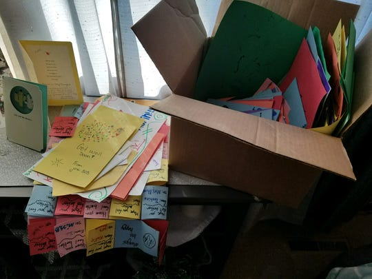 An overflowing box of cards from Katie Blunck's students.