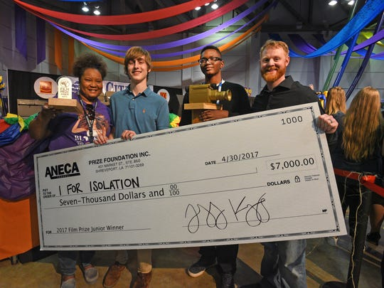 Shannon Armstrong (left), Tobias Kallenberg, 2017 Film Prize Junior winner Brandon Armstrong and Casey Habich at the Film Prize Junior Student Film Festival awards ceremony held at the Shreveport Convention Center.
