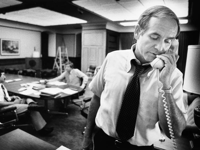 Gov. Robert Ray on the phone in 1979.