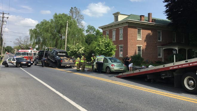 There was a crash at 2949 Horseshoe Pike, South Londonderry Township Thursday. Campbelltown and Lawn fire companies, Lawn Company Fire Ambulance, and Life Lion EMS, and Fire Police responded.