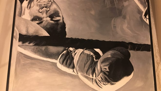 """Silent auction item- original artwork featuring Muhammad Ali. """"Live to Fight Another Day"""" oil on metal Value: $1300.  Artist: Andy Cook, Cook Studio & Gallery"""