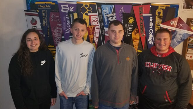 Alison Bridenhagen, left, Jack Richard, Liam Herbst and Nathan LeRoy will be awarded scholarships from the Bordui Foundation