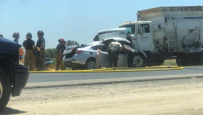 Driver dead after collision with semi-truck near Tulare.