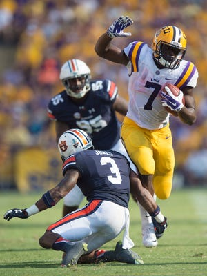 Louisiana State running back Leonard Fournette brake a tackle attempt by Auburn Tigers defensive back Jonathan Jones (3) during the NCAA football game between LSU Tigers and Auburn on Saturday, Sept. 19, 2015, at Tiger Stadium in Baton Rouge, La. Albert Cesare / Advertiser