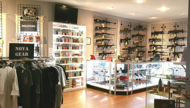 The main firearm display and register counter at NOVA Firearms in McLean, Va.